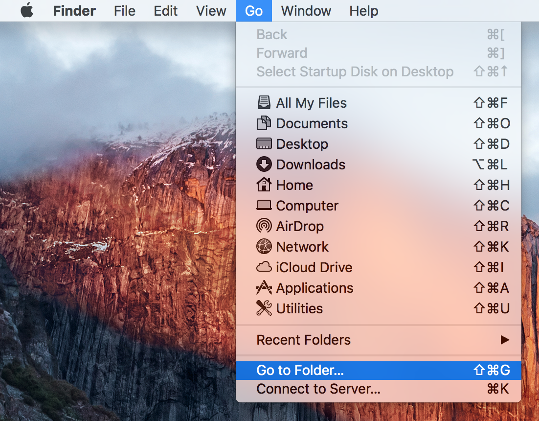 OS X Finder Go Menu