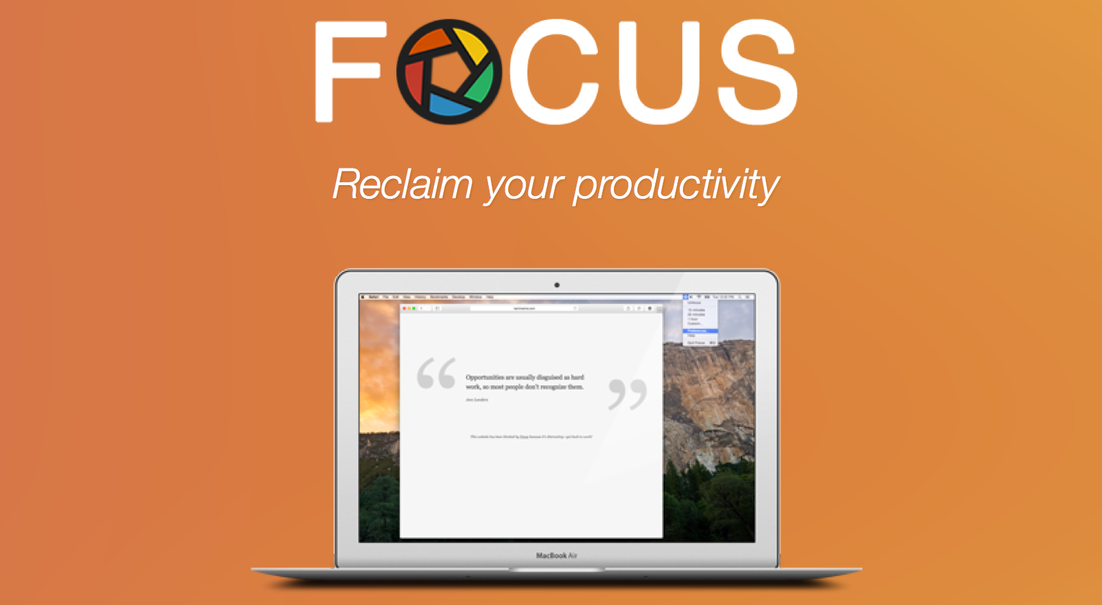 focus for mac banner