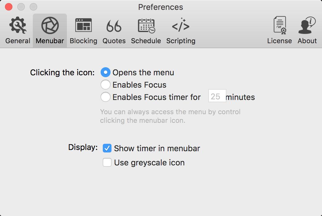 focus app preferences menubar tab