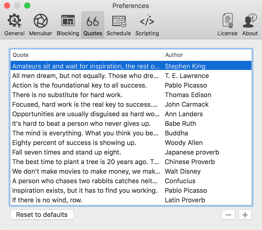 focus OS X app quotes tab preferences