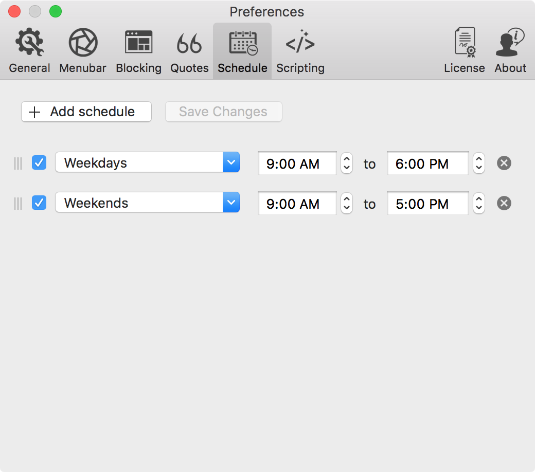 focus app review schedule tab preferences