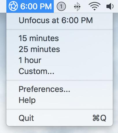 focus app OS X menu bar menu 2