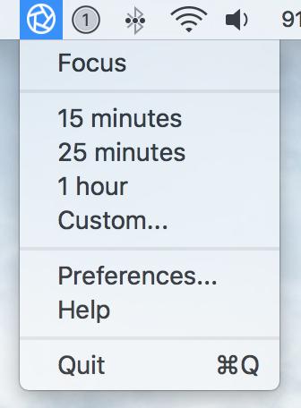 focus app OS X menu bar menu 1