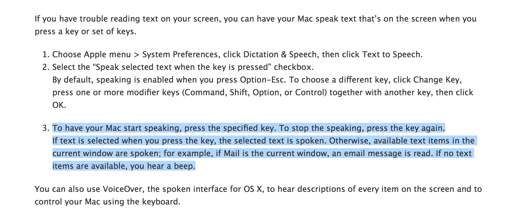 OS X speak selection highlighted text