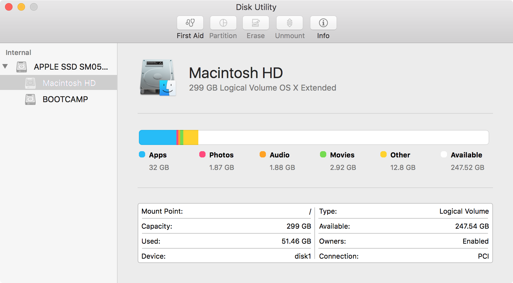 Disk Utility OS X app Macintosh HD selected