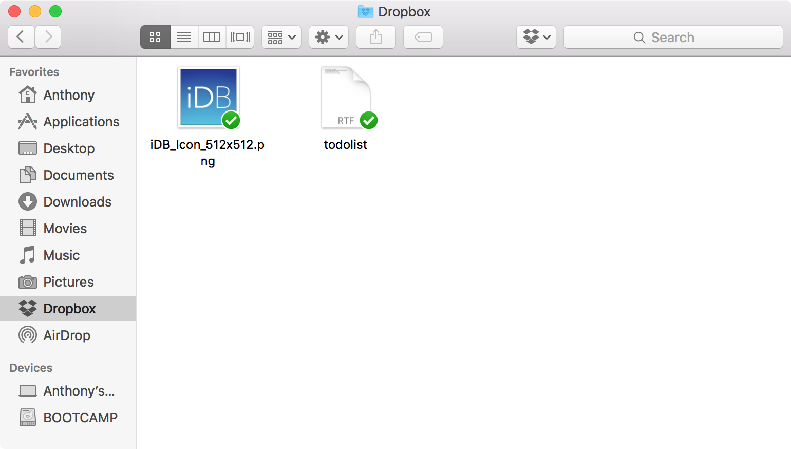 Dropbox Finder window
