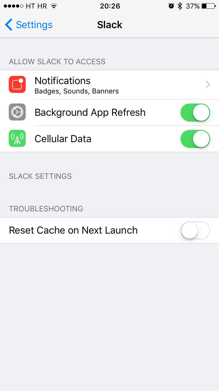 Slack for iOS Reset Account Cache on next launch