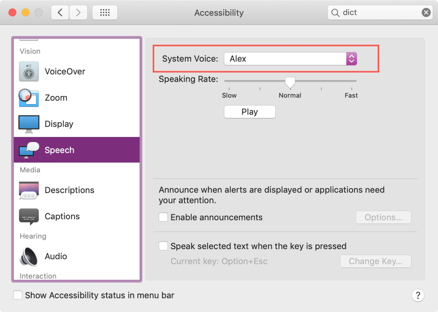 System Voice in Accessibility Speech - make Mac speak