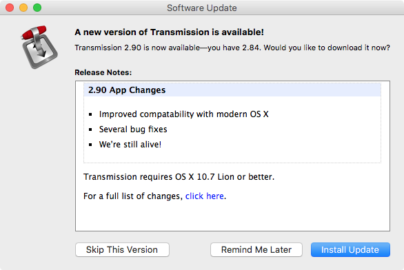 Transmission 2.9 for OS X update promt Mac screenshot 001