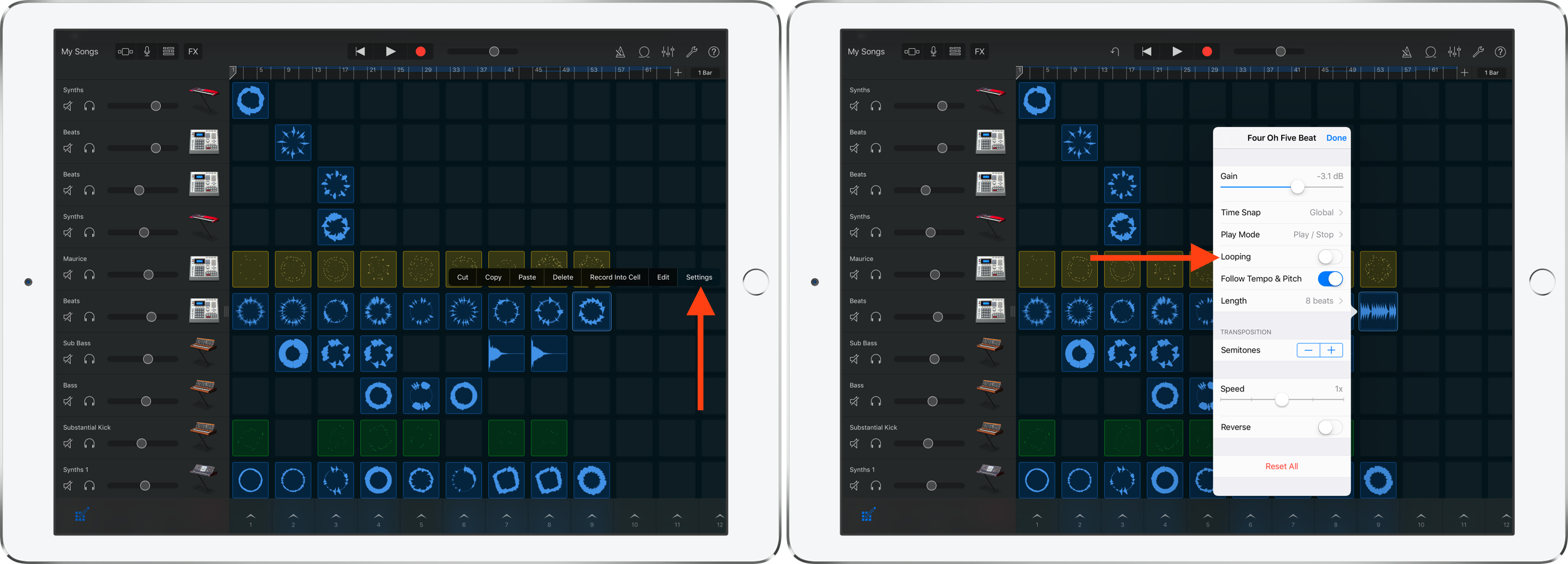 Turn off looping GarageBand