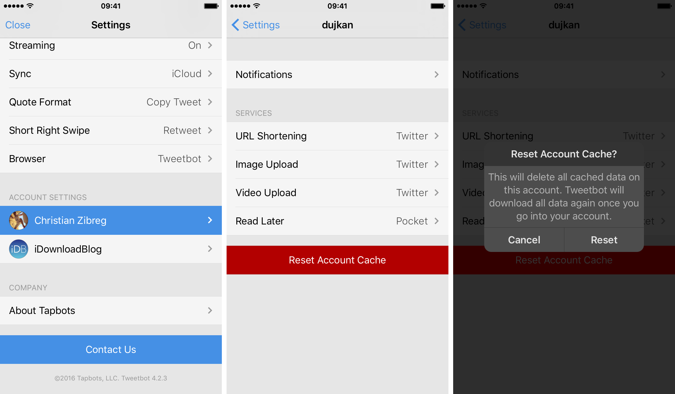 Tweetbot delete account cache