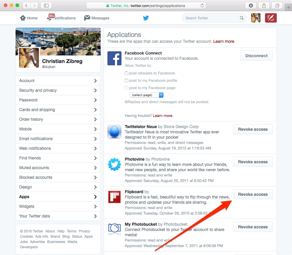 revoke app access twitter