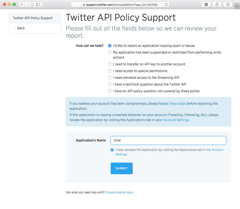 Twitter API policy support