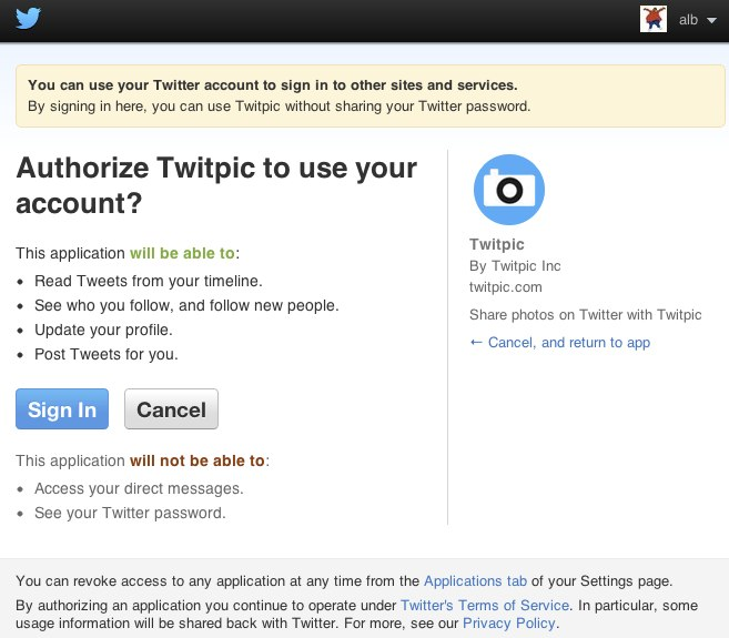 Twitter app authorization screen