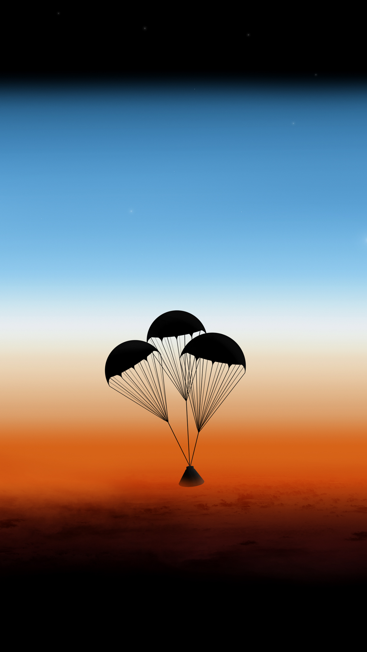 Orion Capsule re-entering the atmosphere