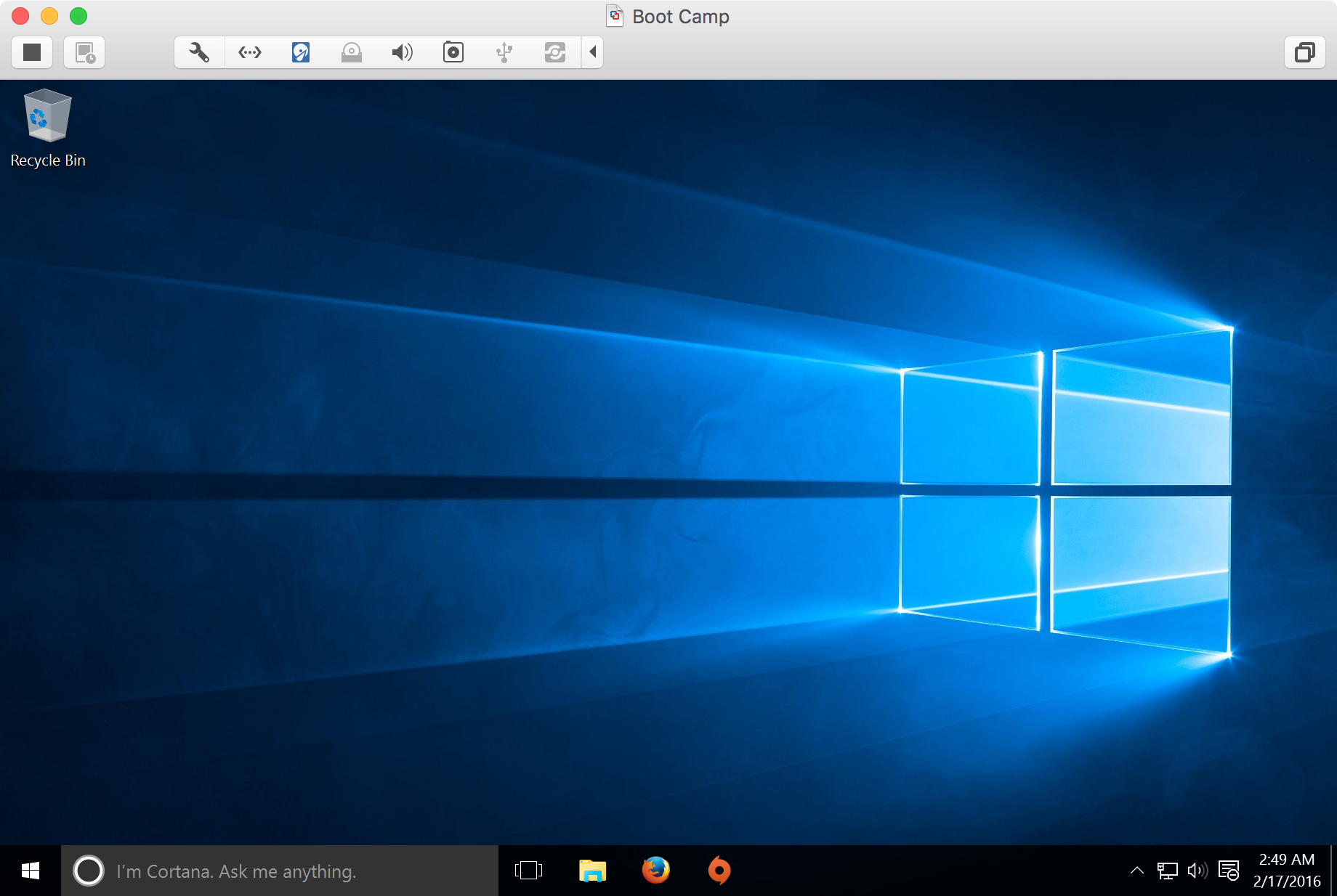 VMware Fusion Windows 10 User Interface