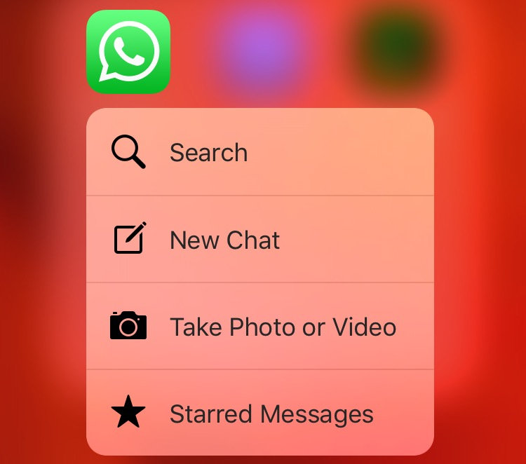 WhatsApp 2.12.14 3D Touch shortcut menu Home screen iPhone 6s screenshot