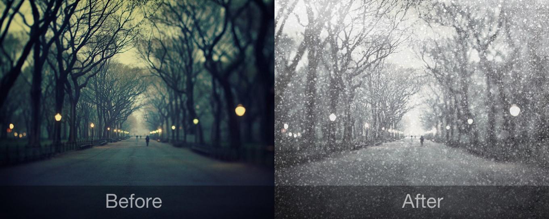 revisión de la aplicación antes y después de la nevada