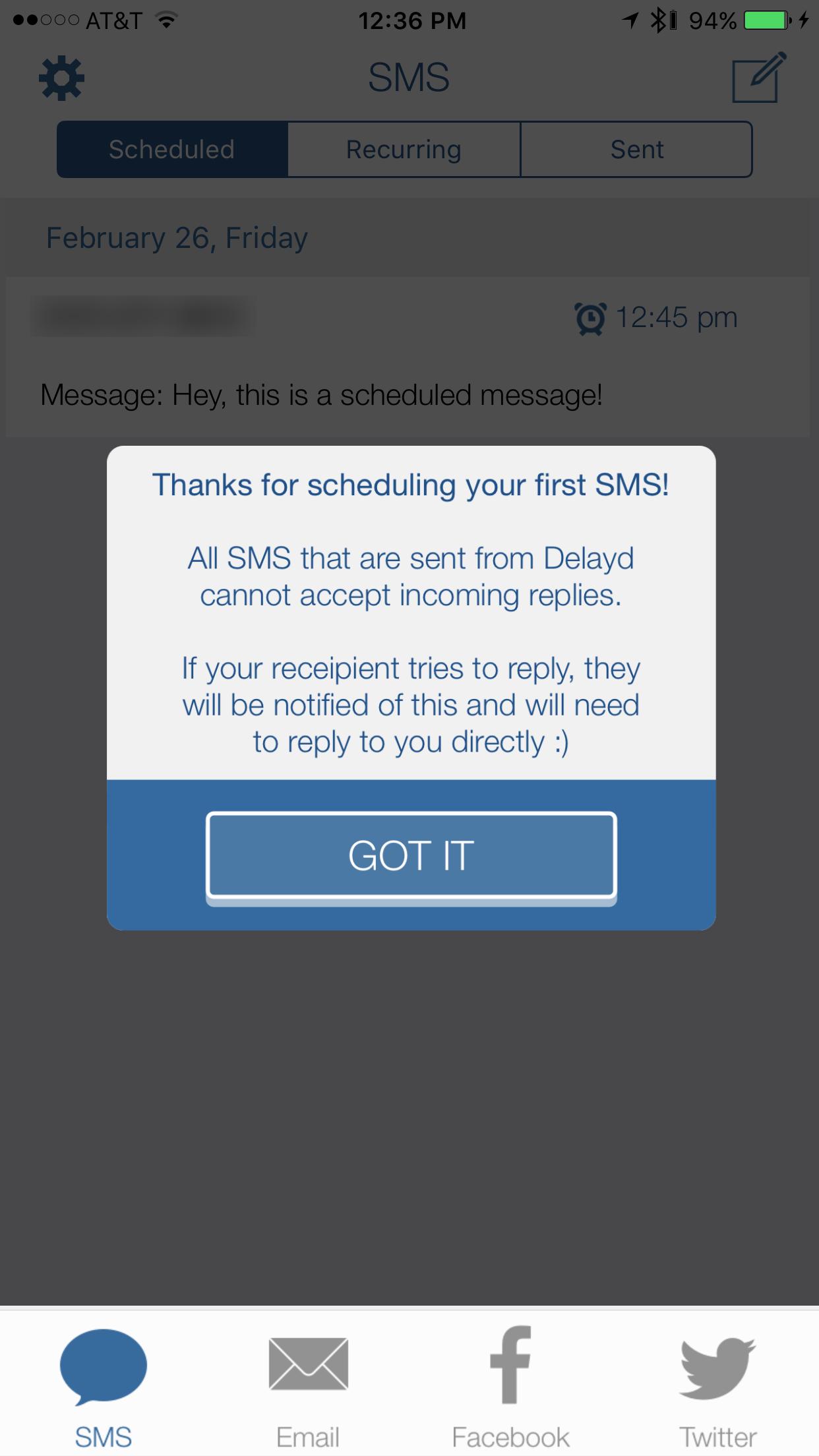 delayd scheduled message