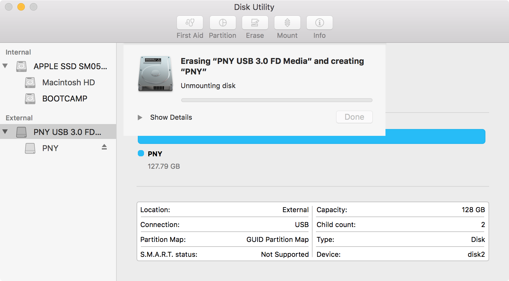 disk utility unmounting drive