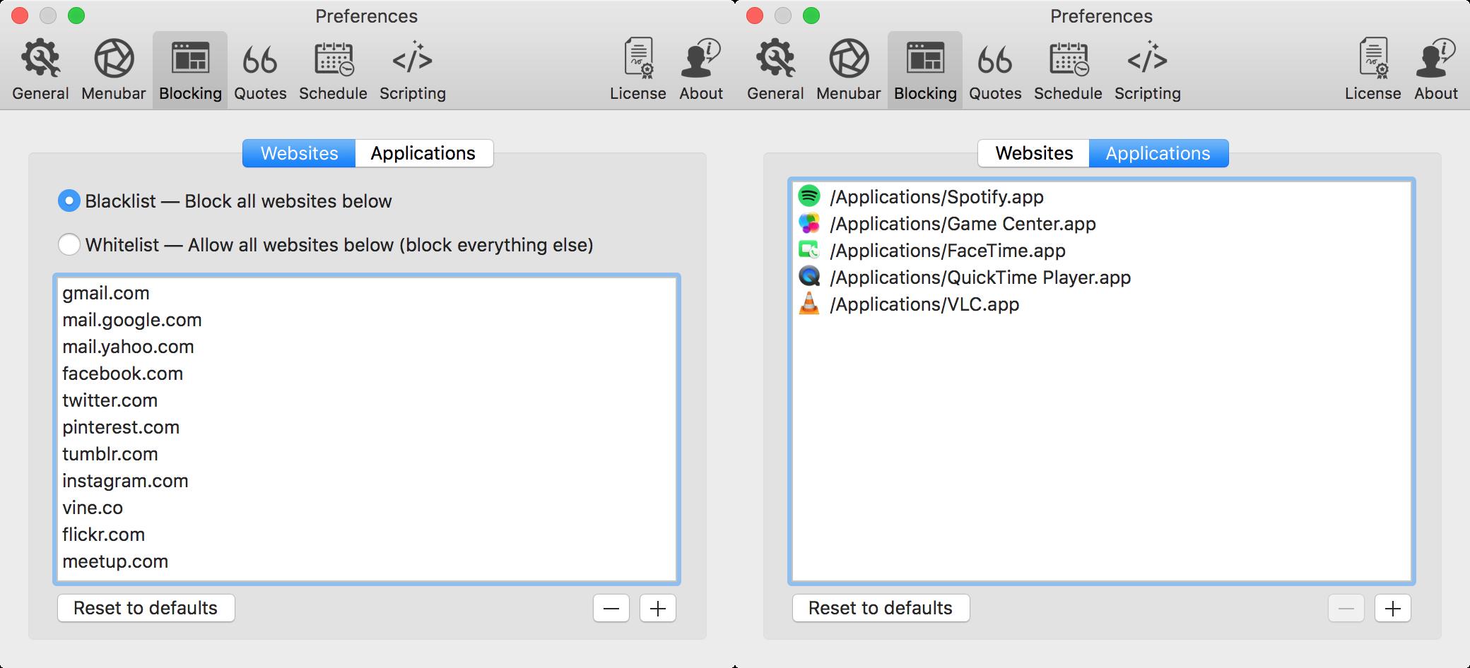 focus app blocking tab preferences
