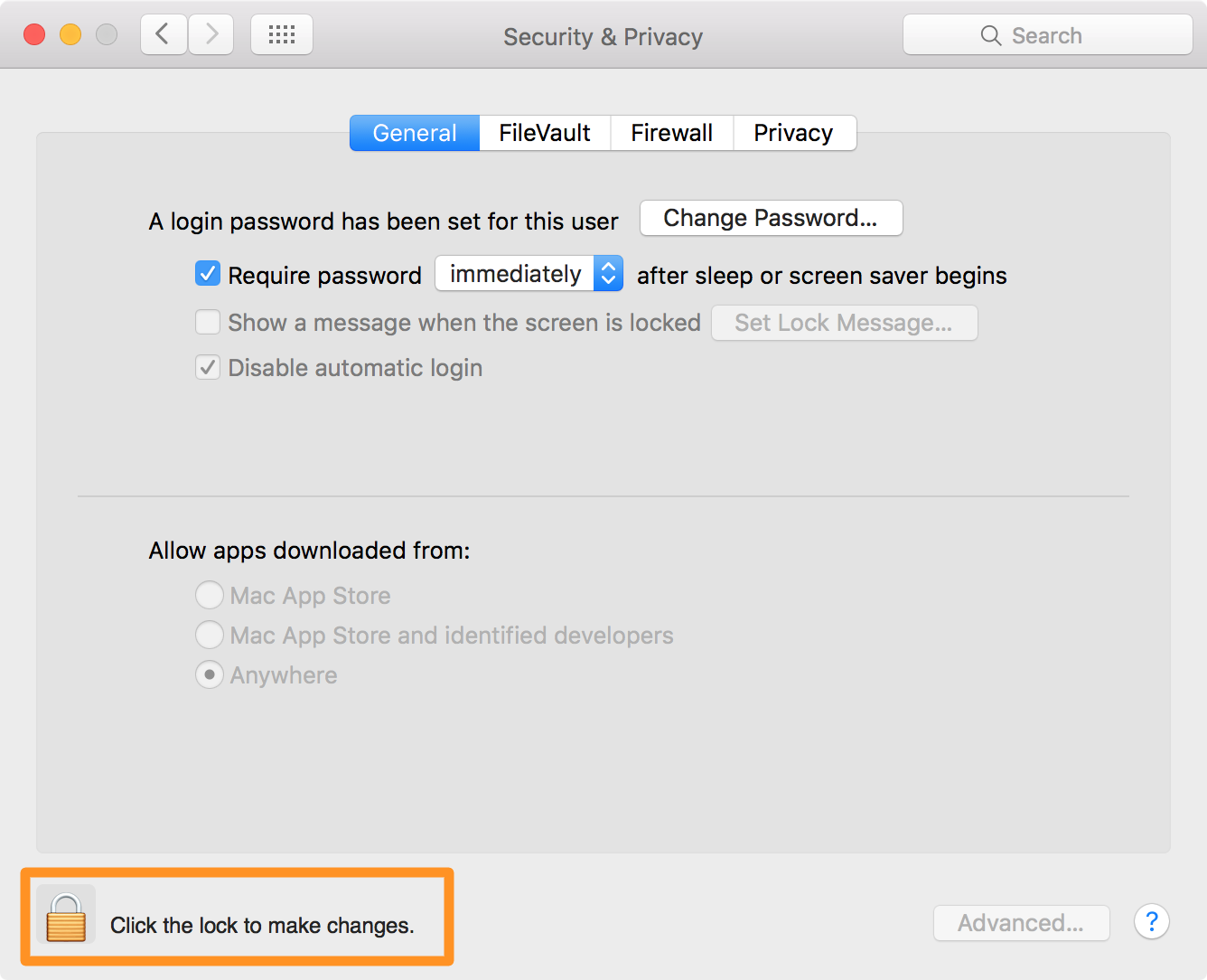 gatekeeper os x click the lock to make changes