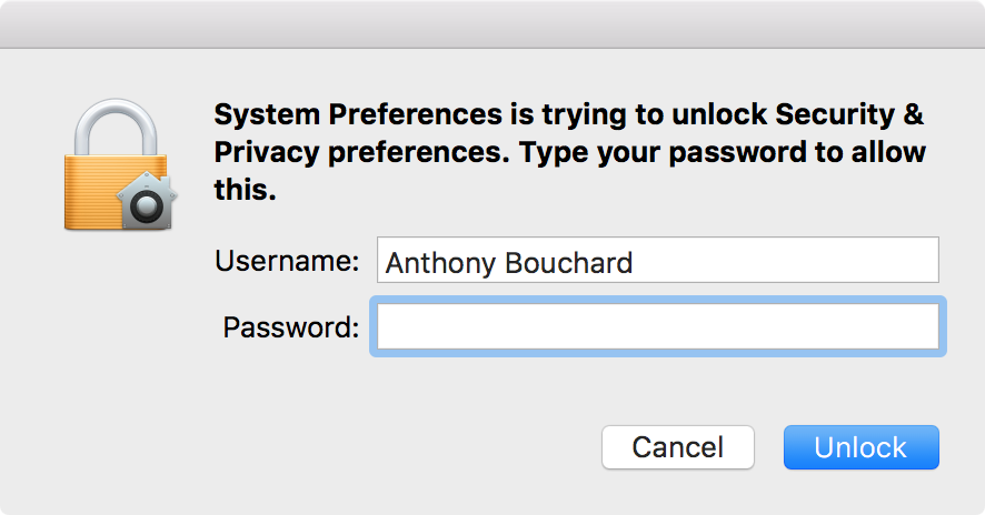 gatekeeper unlock preferences password