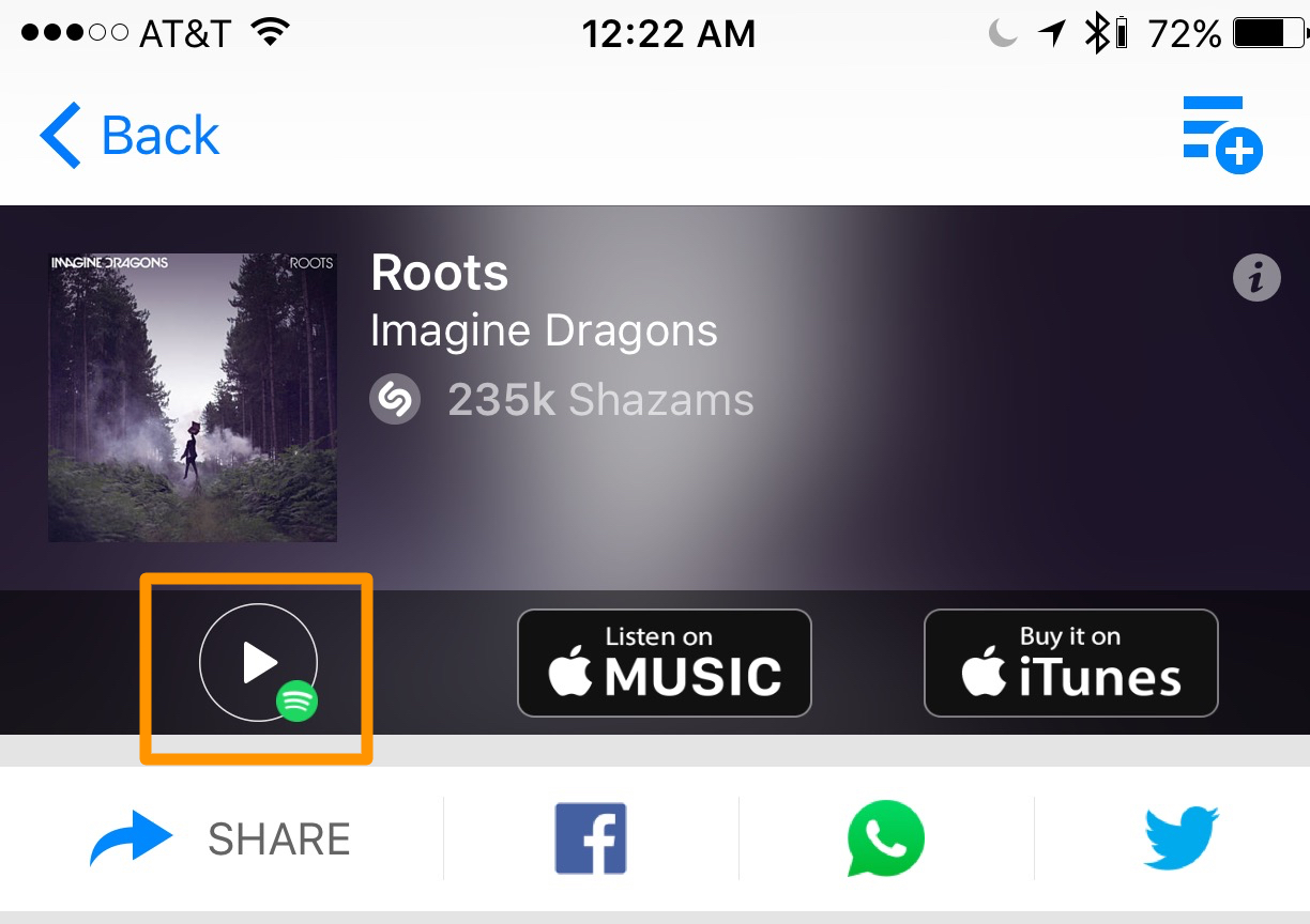 how to link spotify to shazam guide button