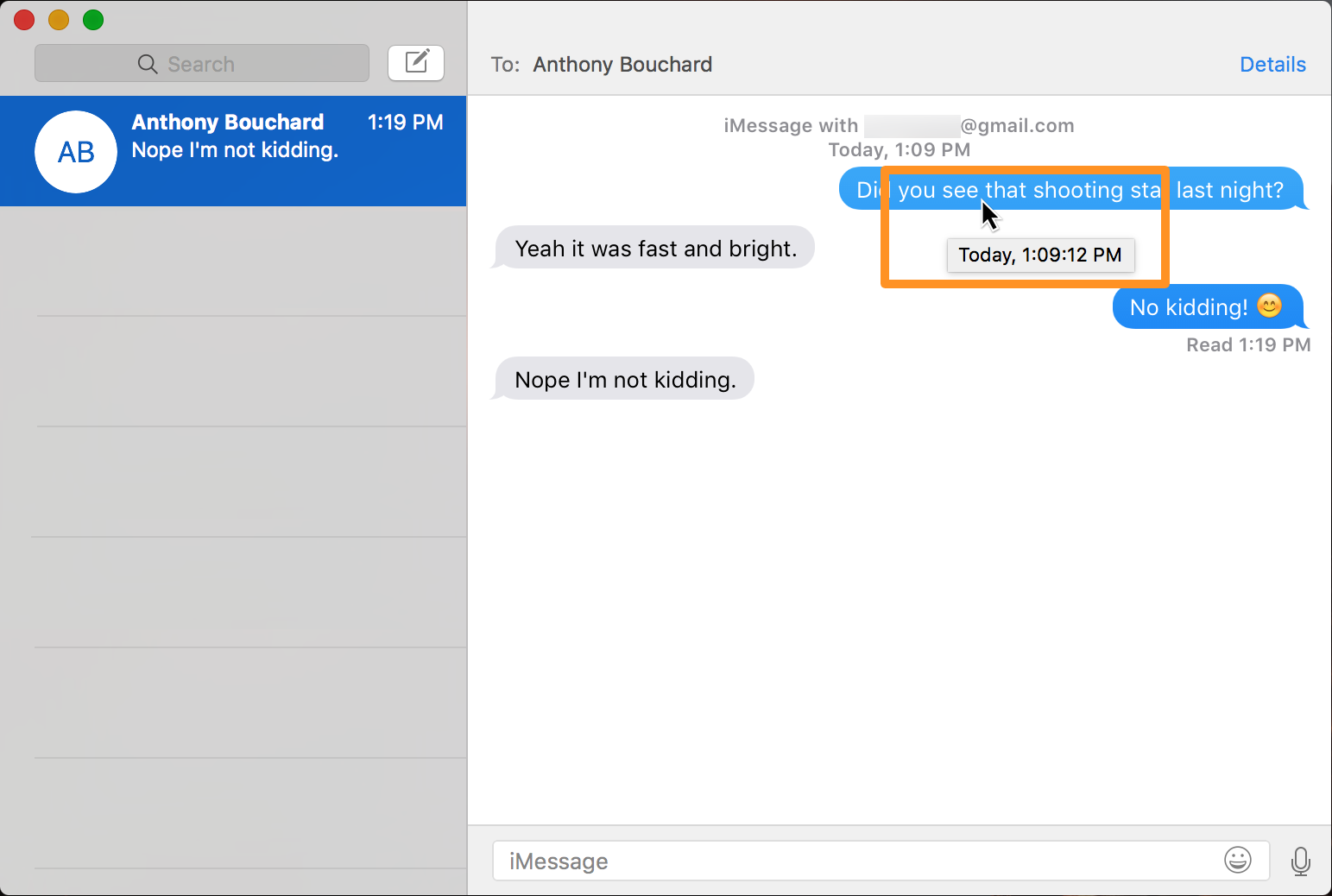 View time stamps in Messages app for mac