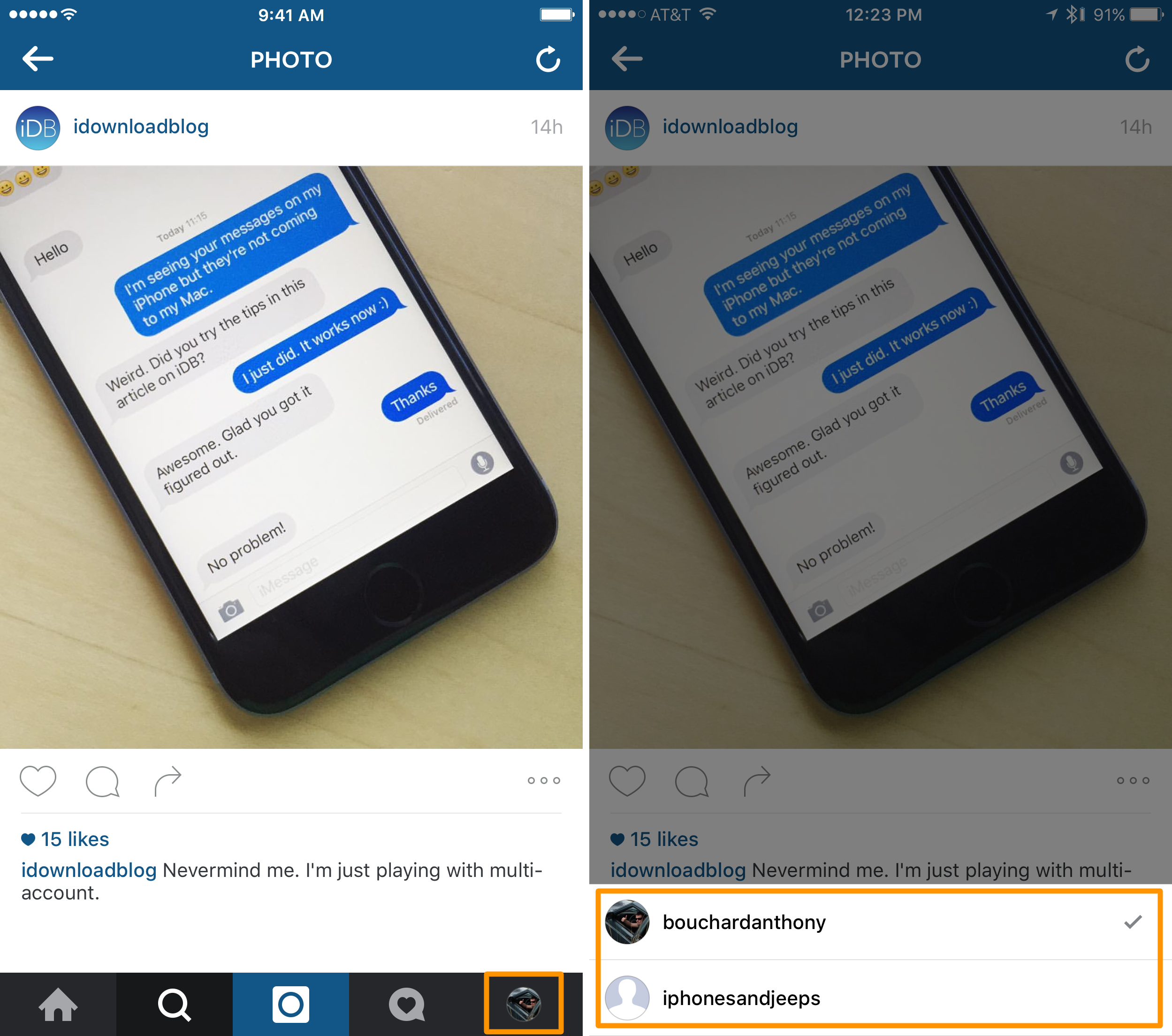 how to switch instagram accounts in the mobile app