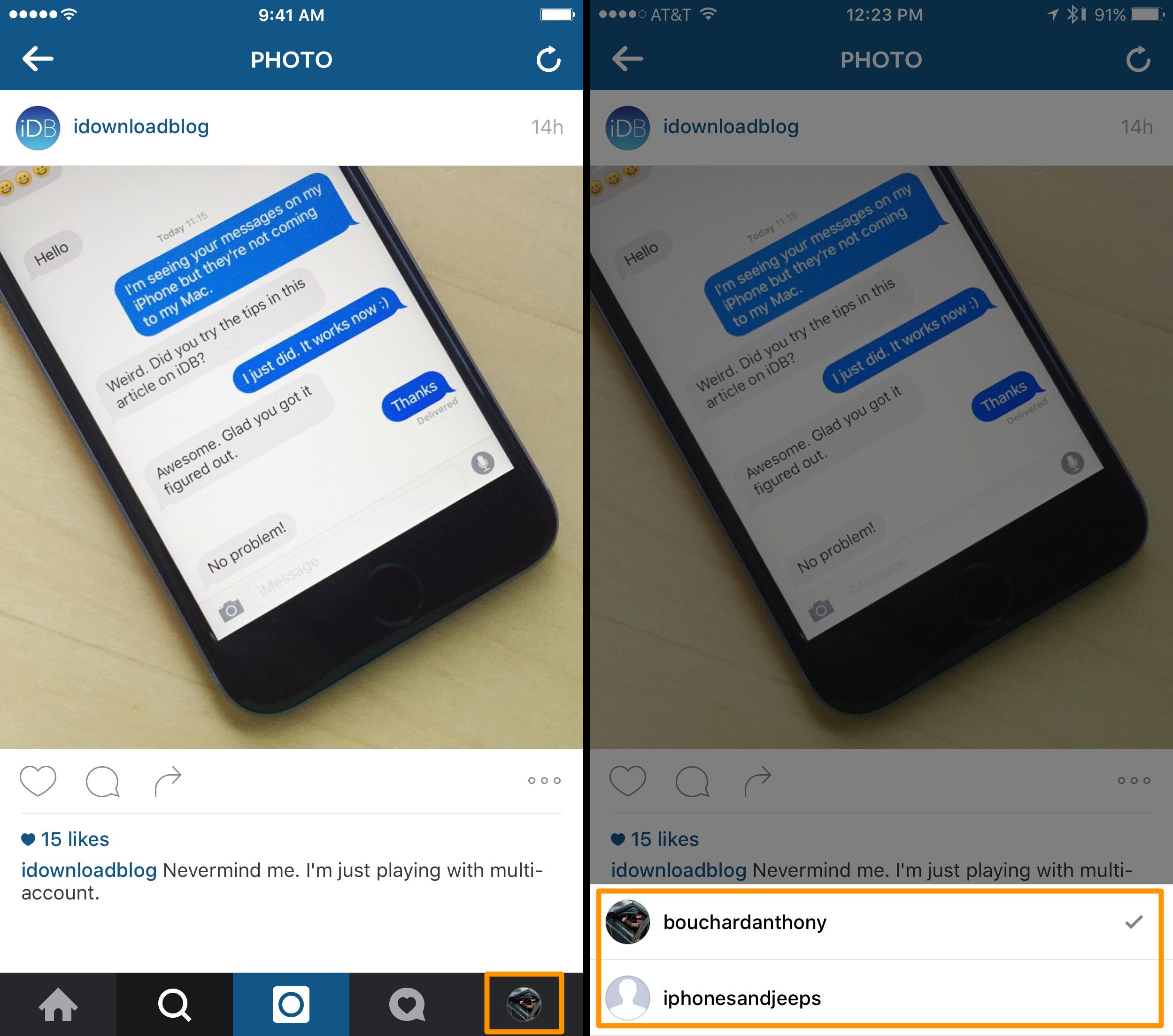 cómo cambiar cuentas de instagram en la aplicación móvil