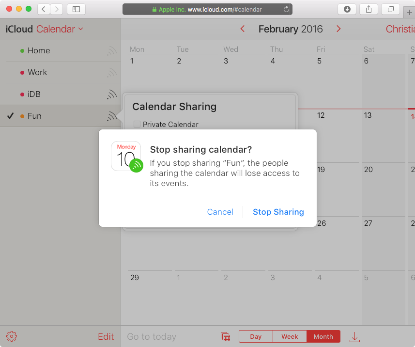 How to share iCloud calendars