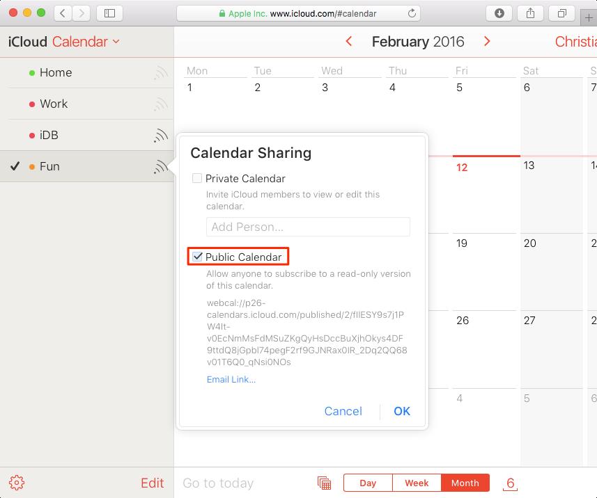 Public calendar on iCloud