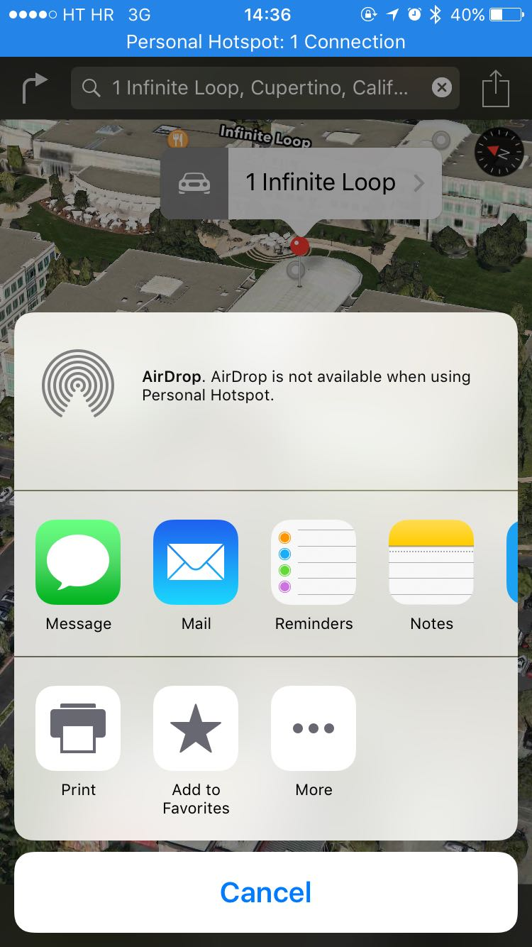 iOS 9 AirDrop Apple Maps Advertencia de zona activa personal Captura de pantalla del iPhone 001