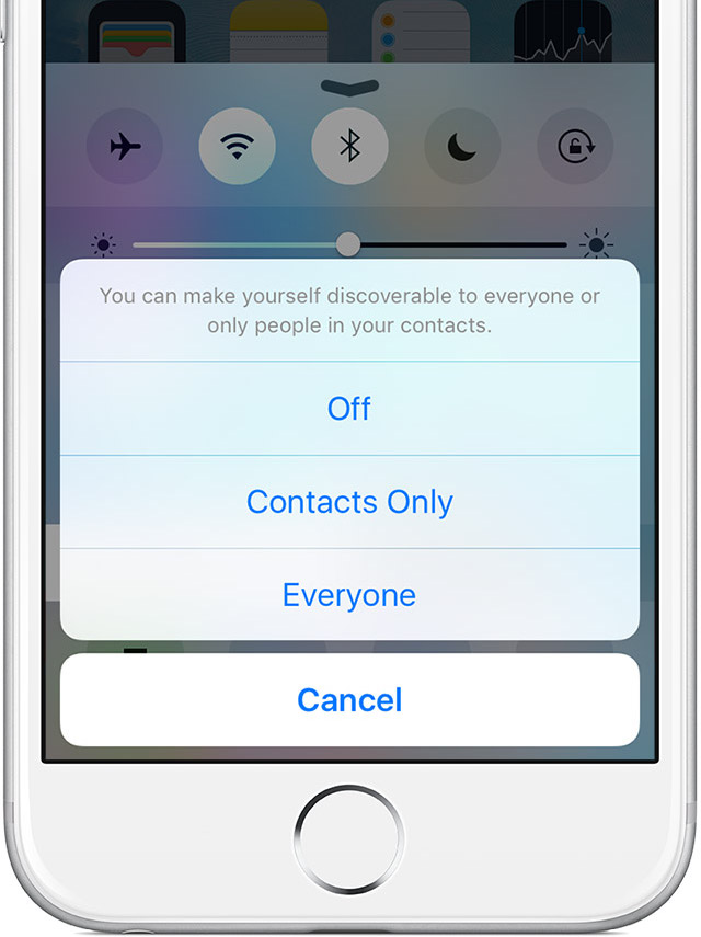 share iphone voicemail with iOS 9 AirDrop discoverability menu