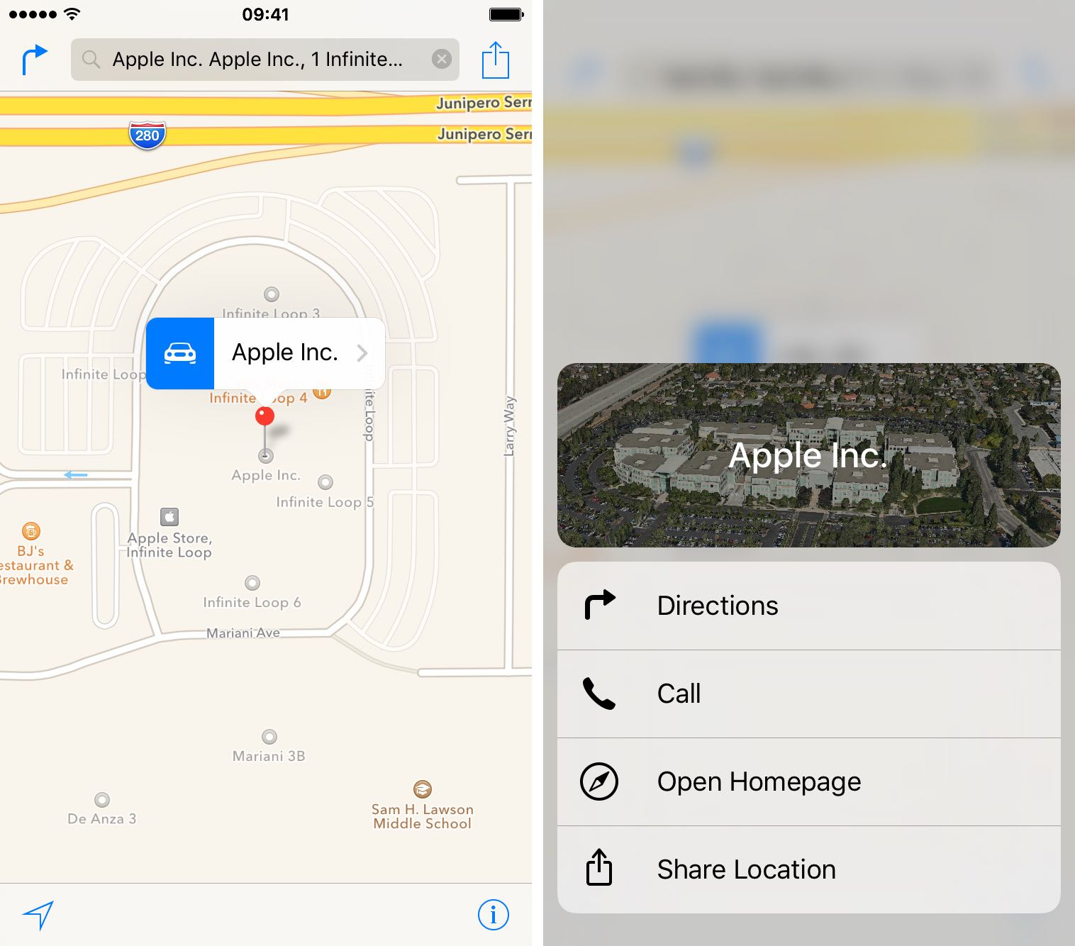 iOS 9 Apple Maps 3D Touch Place information iPhone 6s screenshot 002