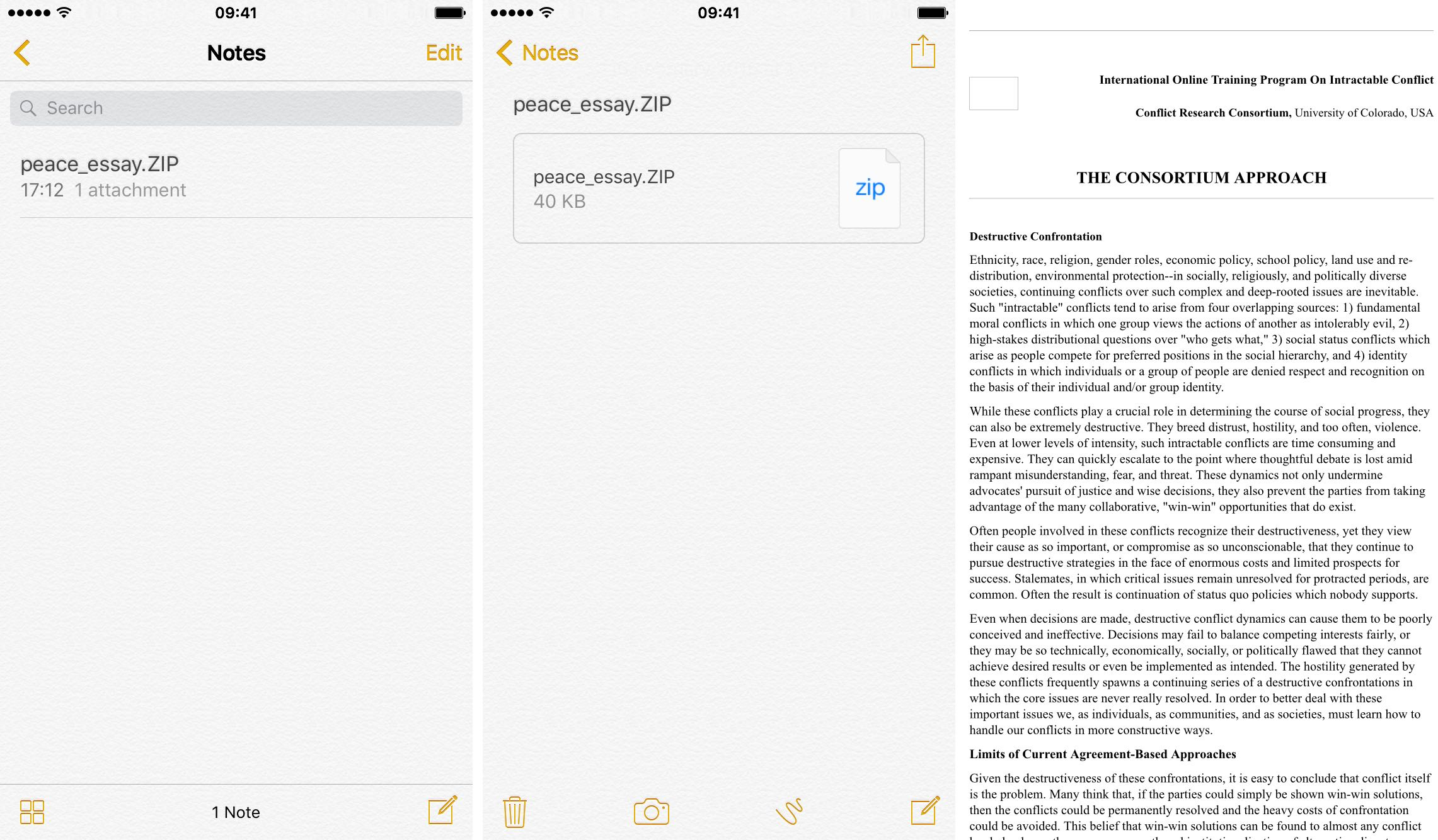 Extract zip file in Notes app