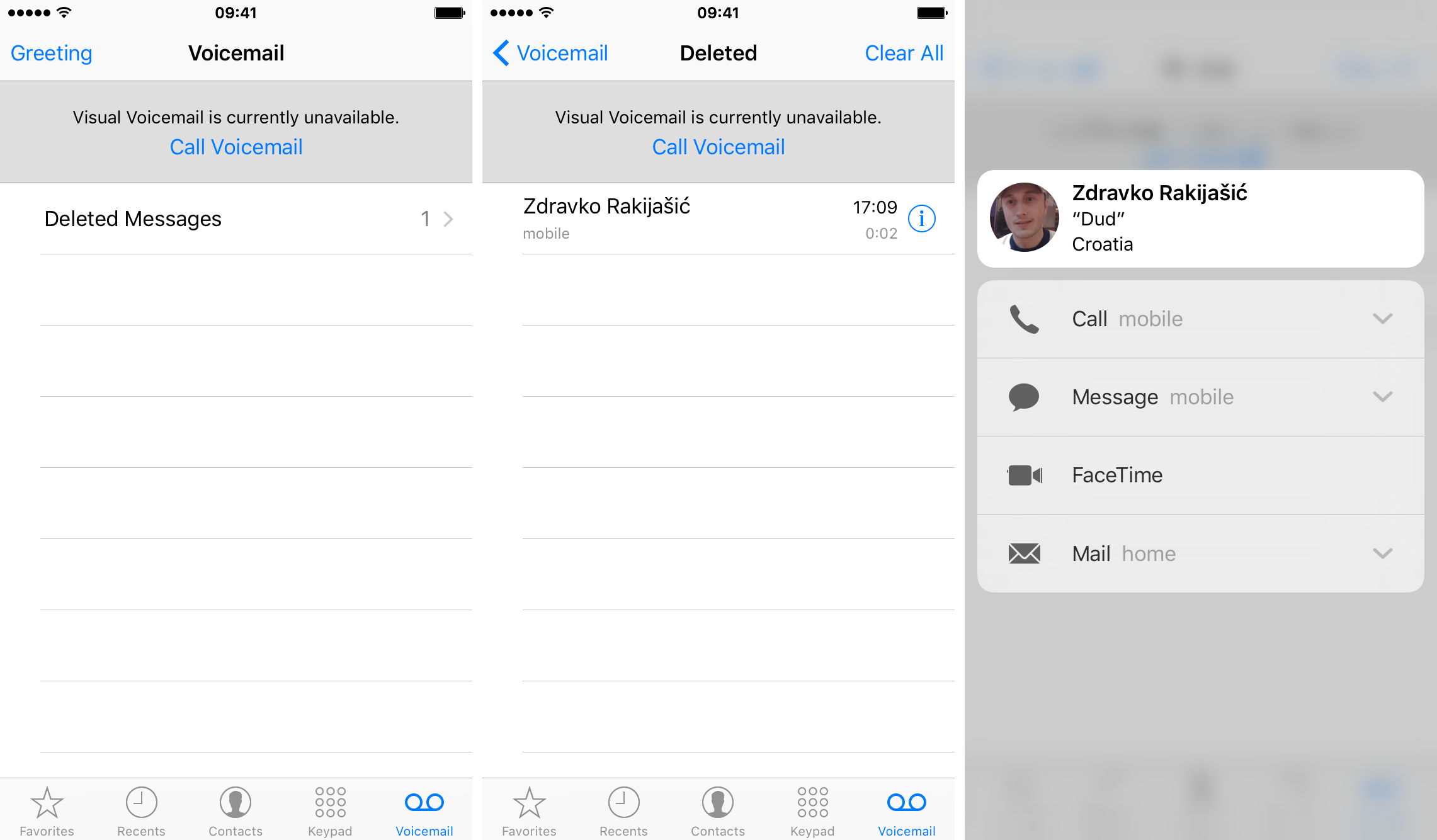 iOS 9 Phone 3D Touch preview contacts iPhone 6s screenshot 002