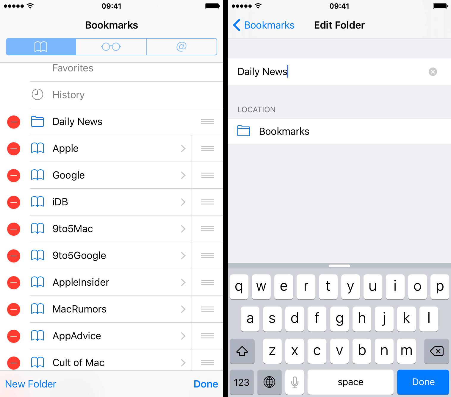 Cómo cambiar el nombre de las carpetas de marcadores en iPhone