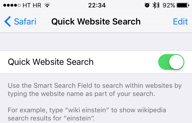 Safari Quick Website Search on iPhone