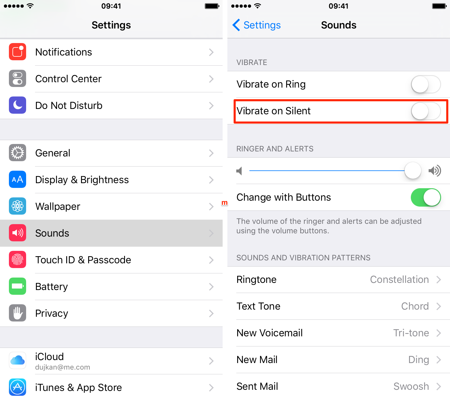 iOS 9 Settings Sounds Vibrate on Silent