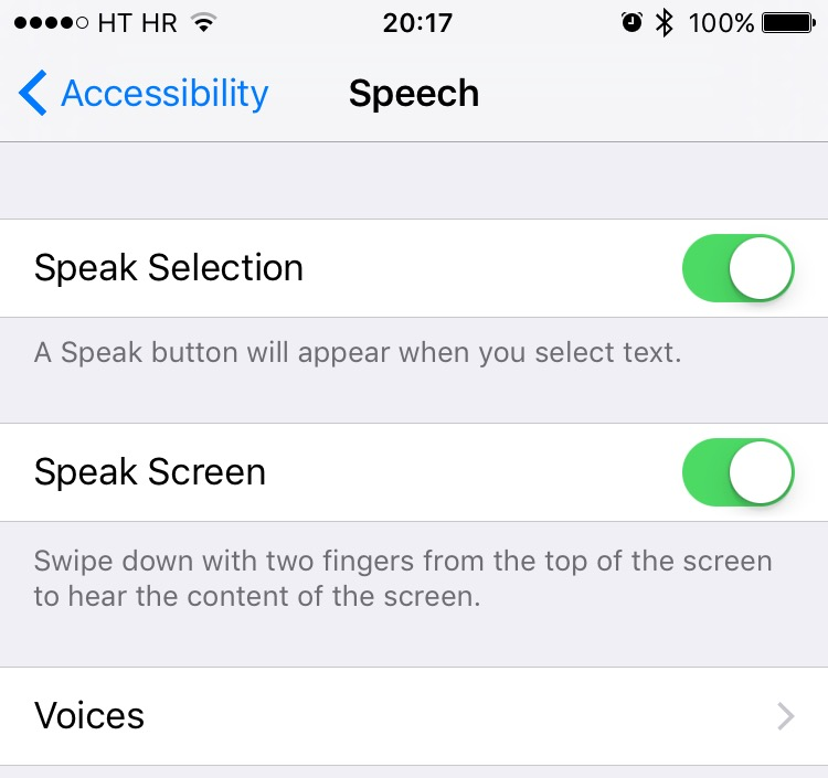Speak screen