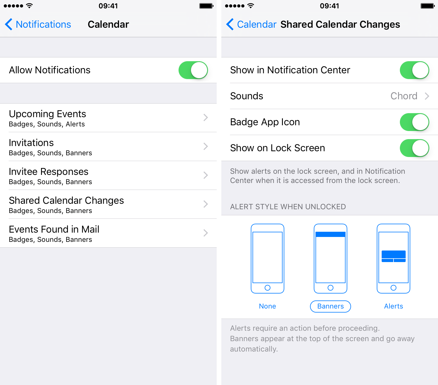 Adjust notifications for shared calendars