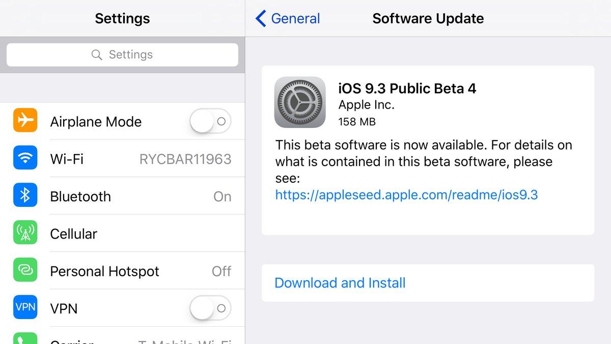 iOS 9.3 beta 3 public