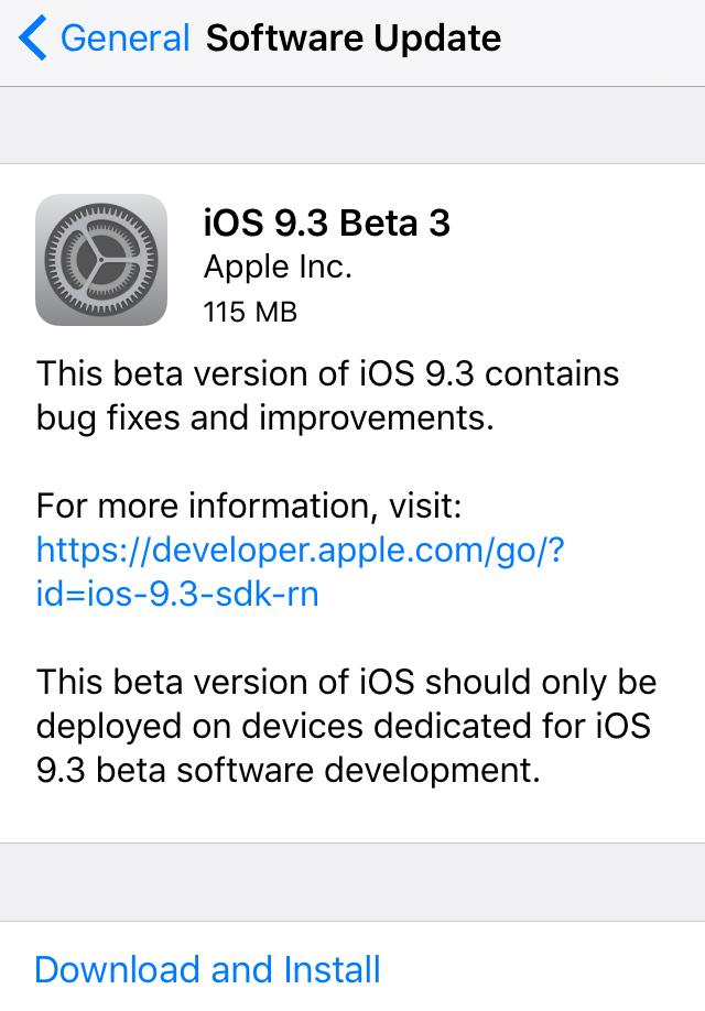 iOS 9.3 beta 3