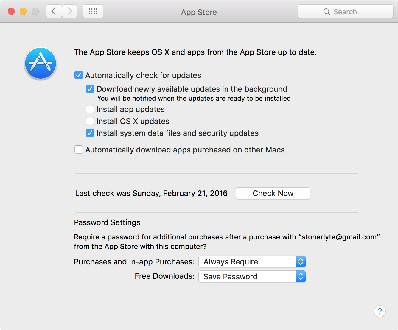 mac app store settings OS X