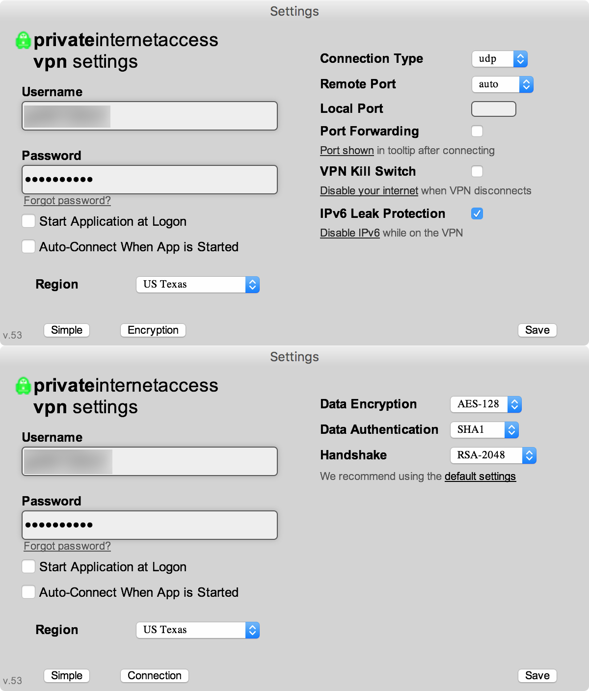 private internet access VPN advanced settings