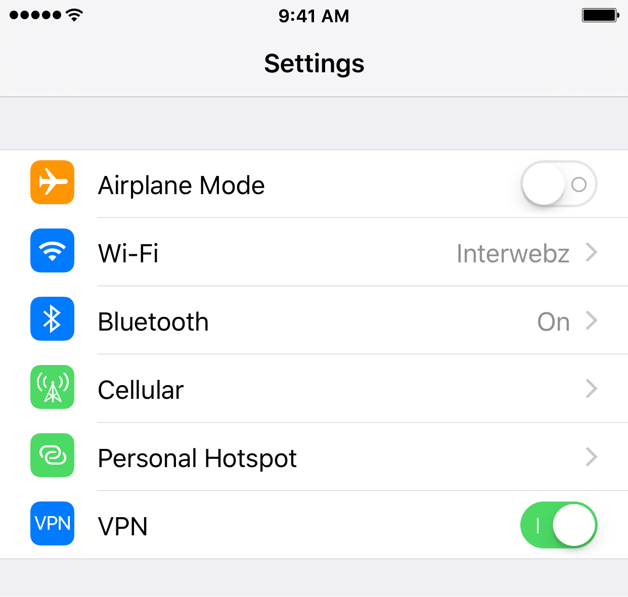 toggle VPN from settings app