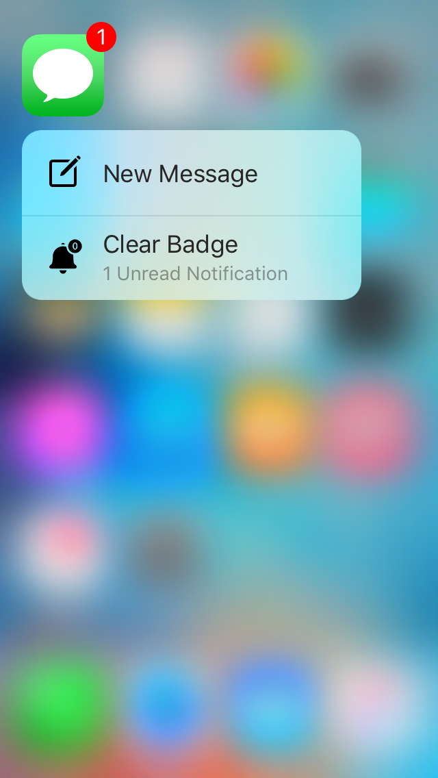 quickclear 3d touch menu to clear badges