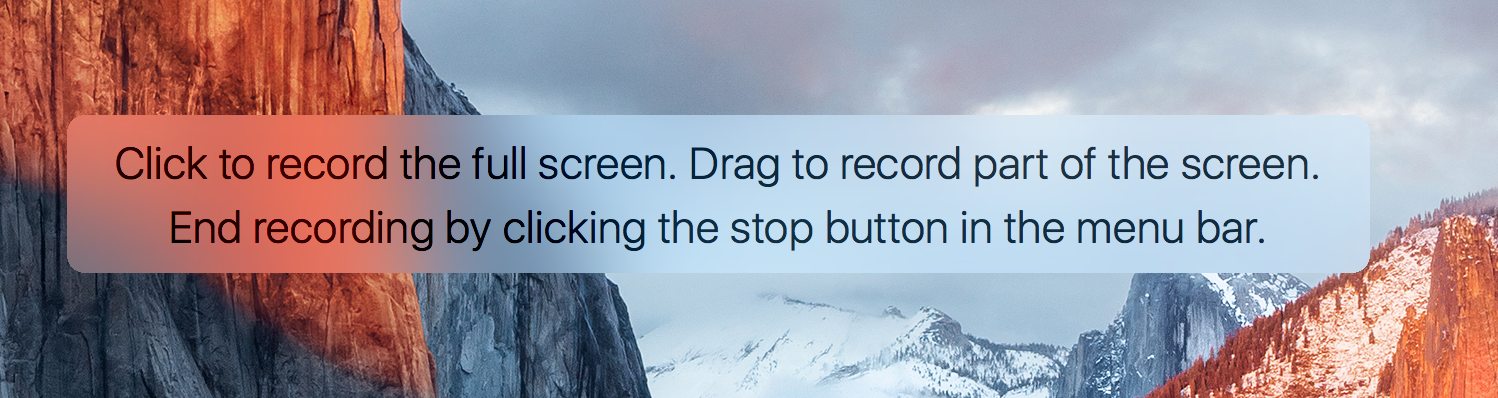 Click or drag to record with QuickTime